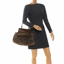 Fendi Brown Suede and Leather To You Clutch Bag 261158