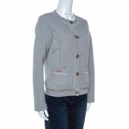 D&G Grey Quilted Cotton Knit Chain Detail Jacket M Dandg 261151