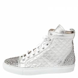 Le Silla Pearl White Metallic Quilted Leather and Suede Crystal Embellished Lace High Top Sneakers Size 37 260601