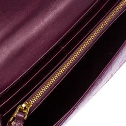 Miu Miu Purple Croc Embossed Patent Leather Flap Continental Wallet 259481