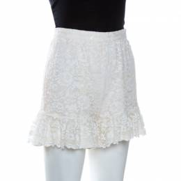 D&G Cream Lace Frill Detail Shorts XS Dandg 260540