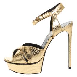 Saint Laurent Gold Python Embossed Leather Bianca Platform Sandals Size 36.5 259399