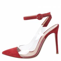 Gianvito Rossi Red Leather And Suede Anise Pointed Toe Ankle Strap Sandals Size 38 260501