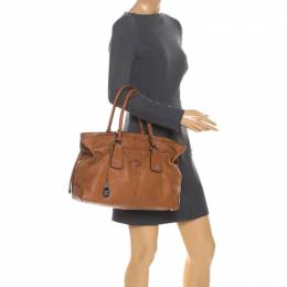 Tod's Brown Leather Restyling D Bag Media Tote 258968