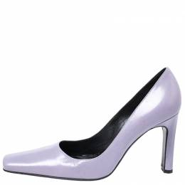 Casadei Lilac Leather Square Toe Pumps Size 38 258965