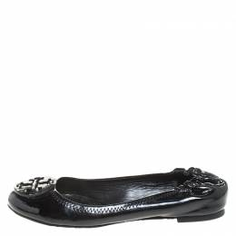 Tory Burch Black Patent Leather Reva Scrunch Ballet Flats Size 37.5 258816