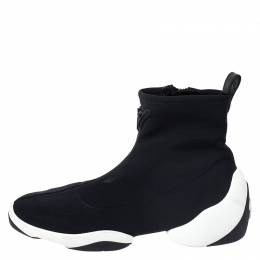 Giuseppe Zanotti Design Black Stretch Fabric High Top Sneakers Size 40