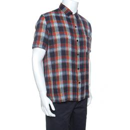 Saint Laurent Paris Multicolor Checked Cotton Short Sleeve Shirt L