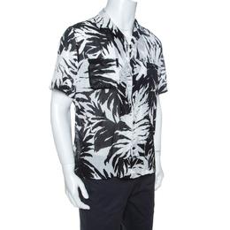 Saint Laurent Paris Monochrome Palm Print Cotton Short Sleeve Shirt M