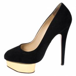 Charlotte Olympia Black Suede Dolly Platform Pumps Size 37.5 260532