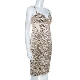 Just Cavalli Brown Leopard Print Mesh Insert Short Dress M 260531