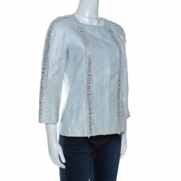 Chanel Mint Blue Leather Fringe Detail Jacket M 261003