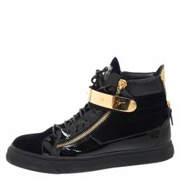Giuseppe Zanotti Design Black/Navy Blue Velvet and Patent Leather Coby High Top Sneakers Size 44