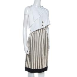 Fendi Cream Striped Silk Blend Cape Detail Dress M 260284