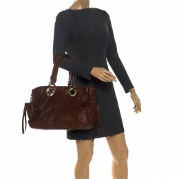 Bally Brown Leather Chain Shoulder Bag 260990