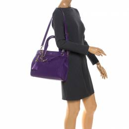 Aigner Purple Crocodile Embossed Leather Cavallina Top Handle Bag 261130
