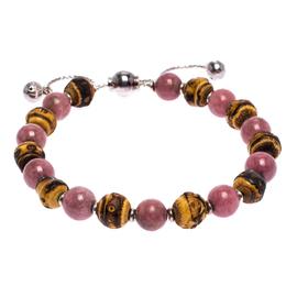 Gucci Bi-color Stone Wood Silver Adjustable Bead Bracelet 261132