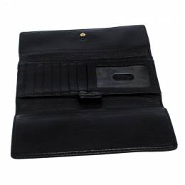 Michael Kors Black Leather Trifold Flap Continental Wallet 259551