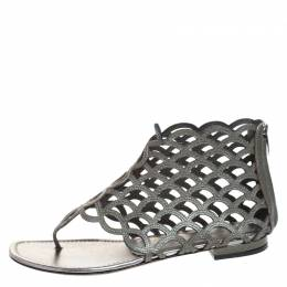 Sergio Rossi Metallic Grey Leather Cut Out Scalloped Flat Sandals Size 37.5 258801