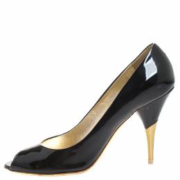 Miu Miu Black Patent Leather Peep Toe Pumps Size 37 258255
