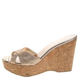 Jimmy Choo Glitter Fabric Perfume Cork Wedge Platform Sandals Size 39