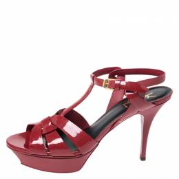 Saint Laurent Red Leather Tribute Platform Sandals Size 40 258125
