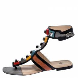 Fendi Multicolor Leather And Lizard Embossed Studded Ankle Cuff Flat Sandals Size 37.5 257405