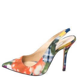 Oscar De La Renta Multicolor Abstract Print Satin Pointed Toe Sandals Size 36 258004