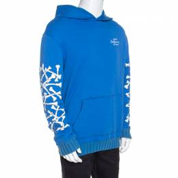 Amiri Blue Bone Print Cotton Hoodie L 258002