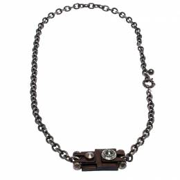 Lanvin Leather Crystal Motif Long Chain Link Statement Necklace