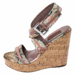 Missoni Multicolor Crochet Fabric And Leather Cork Wedge Slingback Sandals Size 37 257898