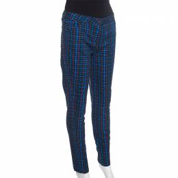 Kenzo Black Laser Check Print Stretch Cotton Tapered Pants M 257871