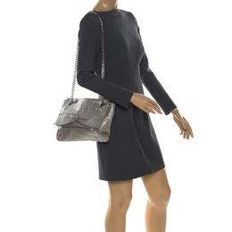 Carolina Herrera Silver Monogram Leather Audrey Shoulder Bag 257528