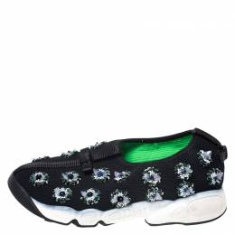 Dior Black Mesh Fusion Embellished Sneakers Size 36.5 257414