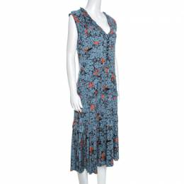 Marc By Marc Jacobs Teal Blue Floral Printed Modal Ruffle Detail Dress L 258036