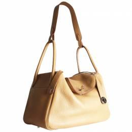 Hermes Beige Leather Palladium Hardware Lindy Shoulder Bag 257848