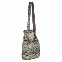 Chloe Grey Python Joan Bucket Bag
