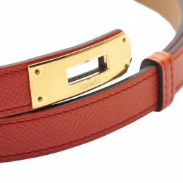 Hermes Orange Epsom Leather Kelly Belt 258445