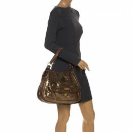 Anya Hindmarch Gold Laminated Suede Crackle Effect Flap Buckle Shoulder Bag 258118