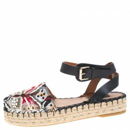 Valentino Multcolor Camubutterfly Lace And Leather Platform Espadrilles Size 38