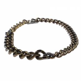 Lanvin Gourmette Crystal Two Tone Chain Link Toggle Necklace