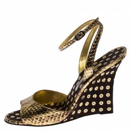 Manolo Blahnik Gold Python Embossed Leather Wedge Ankle Strap Sandals Size 39.5 257824