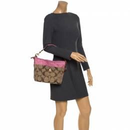 Coach Pink/Beige Signature Canvas Carly Shoulder Bag 257624