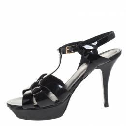 Saint Laurent Black Patent Leather Tribute Platform Ankle Strap Sandals Size 40 258079