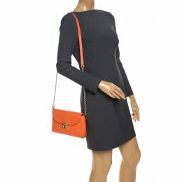 Aigner Orange Leather Genoveva Pochette Crossbody Bag 257639