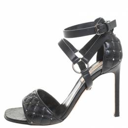 Valentino Black Leather Rockstud Spike Ankle Strap Sandals Size 37 258097