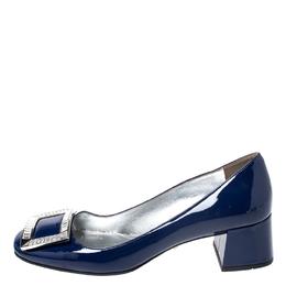 Prada Blue Patent Leather Crystal Buckle Block Heel Pumps Size 37 258664