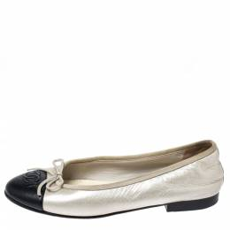 Chanel Two-Tone Leather Bow CC Cap Toe Ballet Flats Size 36.5 258666