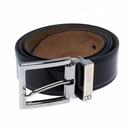 Dolce&Gabbana Black Leather Buckle Belt 100CM