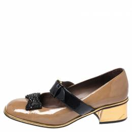 Marni Brown Patent Leather Embellished Bow Mary Jane Buckle Strap Pumps Size 38 258089